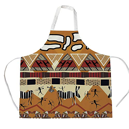 Primitive 3D Printed Cotton Linen Apron,Tribal Ethnic African Hunting Zebra Spear and Arrow Prehistoric Tribe Life Theme,for Cooking Baking Gardening,Ruby Mustard ()