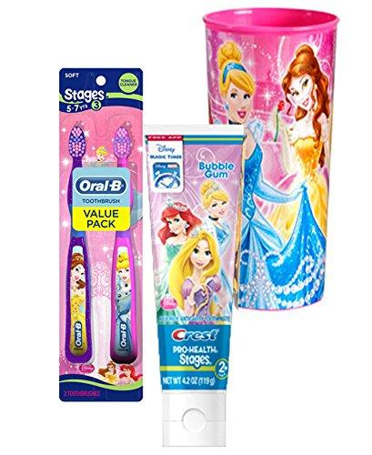 Disney Princess Twin Value Pack Soft Manual Toothbrush & Crest Disney Princess Bubble Gum Toothpaste 4.2 Oz Plus Bonus Princess Mouth Was Rinse -