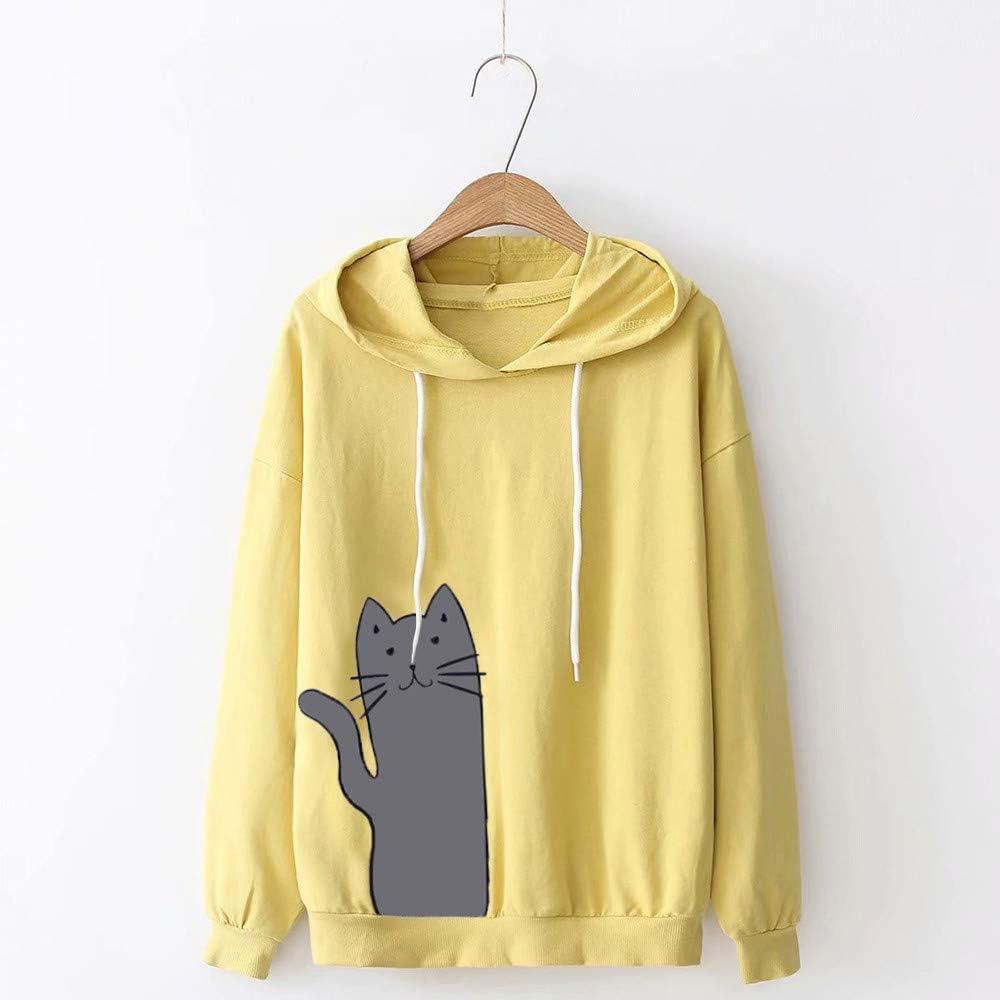 ✦HebeTop ✦ Womens Cat Print Sweatshirt Long Sleeve Loose Pullover Shirt