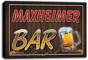 scw3-088671 MAXHEIMER Name Home Bar Pub Beer Mugs Cheers Stretched Canvas Print Sign