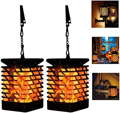 Solar Lantern Lights Outdoor Hanging Decorative -Solar Flame Torch Landscape Pathway Waterproof Tabletop Lights Auto On Off for Path,Camping,Garden,Patio,Deck,Yard
