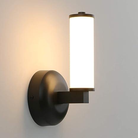 Permo Modern Bathroom Vanity Light Fixtures 11 Watt 3000k Warm White Led Wall Sconce With Diameter 2 1 Tube Shade Black Amazon Com