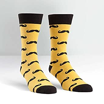 Sock It To Me Mustache Men's Dress Sock, Golden Rod/Black, One Size