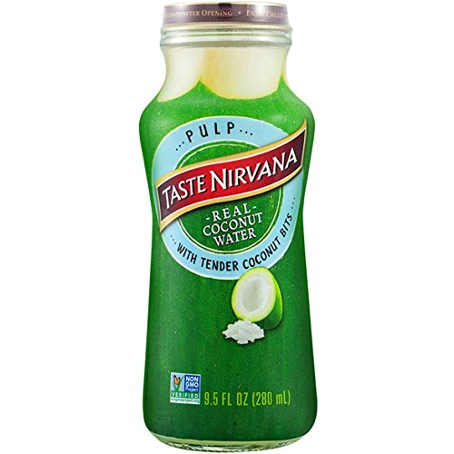 Taste Nirvana Real Coco Pulp, Coconut Water with Tender Coconut Bits, 9.5 Ounce Glass Bottles, (Pack of (Coconut Juice Pulp)