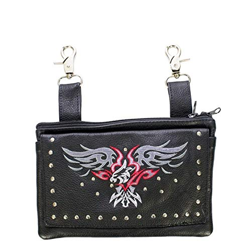 - Billys Biker Gear Womens Studded Leather Hip Bag with Eagle