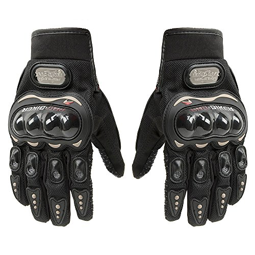 Carbon Fiber Motorcycle Motorbike Cycling Racing Full Finger Gloves Tonsiki (Black, XXL)