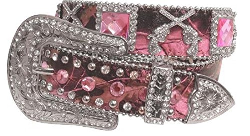Showman Couture Camo Rhinestone Gun Crossed Pistols Concho Leather Belt Jp Pink (Pink Rhinestone Concho)