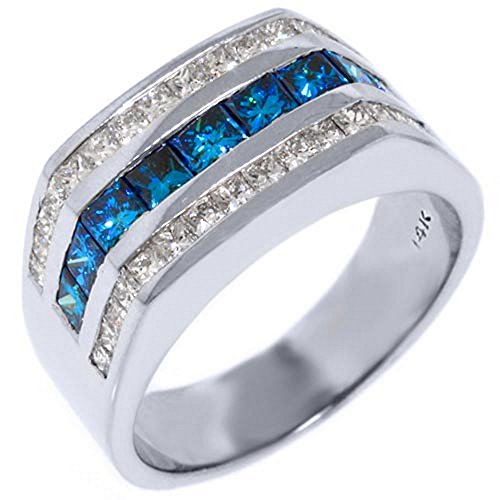 14k White Gold Mens Princess Cut Blue Diamond Ring 2.62 Carats