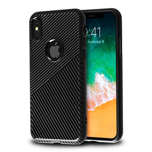 (BasAcc Ultra-Thin Fashion Trendy Soft TPU Protective Back Case Cover Support Wireless Charging Compatible with Apple iPhone Xs/X (2017), Black)
