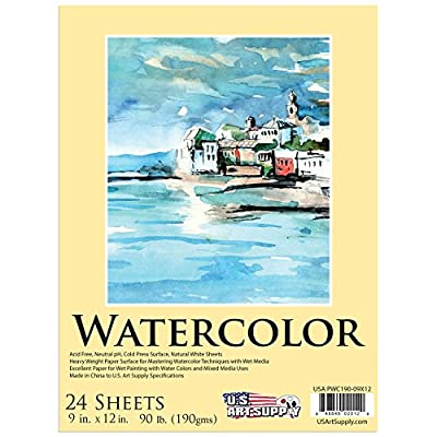 "U.S. Art Supply 9"" x 12"" Premium Extra Heavy-Weight Watercolor Painting Paper Pad, 90 Pound (190gsm), Pad of 24-Sheets"