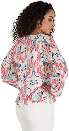 66242fb289ac9 Poetic Justice Curvy Women s Puff Sleeve Tie-Neck Peacock All-Over Print  Blouse