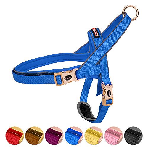 DOGNESS Classic Dog Halter Harness, Traffic Control Handle Belly Protector Metal Buckle, Reflective Soft Padded Nylon, for Small Medium Large Dogs, Matching Leash Collar Sold Separately, Blue M/L