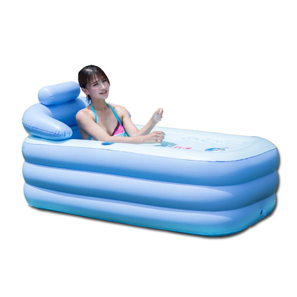 OUkANING Portable Adult Spa PVC Folding Bathtub Inflatable Bath Ttub Pool Children Inflatable Pool Blue