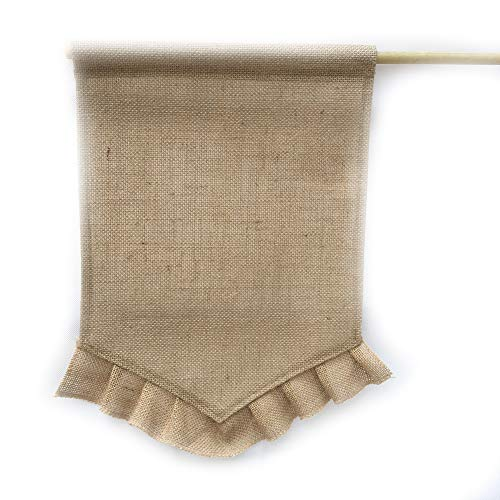 1pc DIY Burlap Garden Flag Blank Burlap Garden Flag DIY Yard Outdoor Signs Garden Decoration(Linen edge) -
