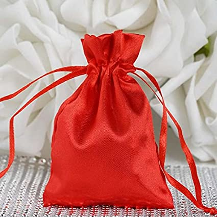 c82fe0c8debe7 Amazon.com: Efavormart 60PCS RED Satin Gift Bag Drawstring Pouch Wedding  Favors Bridal Shower Candy Jewelry Bags - 3