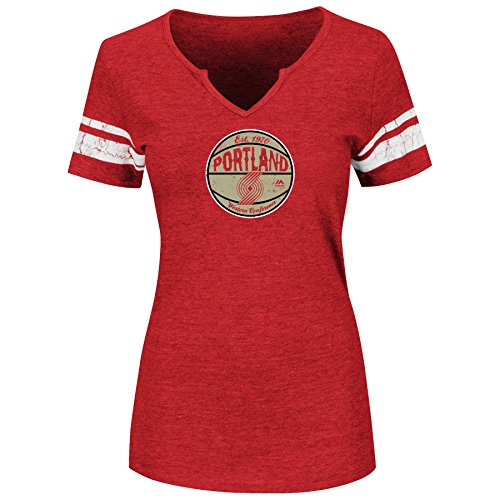 Majestic NBA Women's Never Tired Tri-Blend Heathered Notch V-Neck T-Shirt (Large, Portland Trail Blazers)