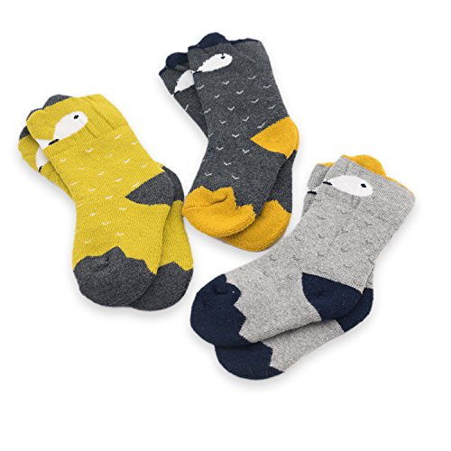CoCoCute Baby Socks -3 Pairs Thick Winter Toddler Socks Baby Boy and Girl Socks Infant Socks Kid Socks Warm Cotton Crew Socks (S(1-3Y), Fox)