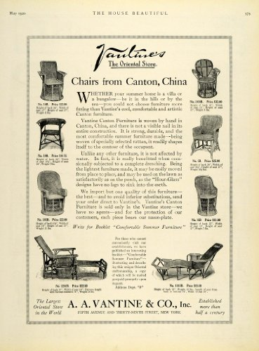 1920 Ad A A Vantine Oriental Store Chairs Furniture Fifth Avenue New York - Original Print - On Avenue 5th Stores