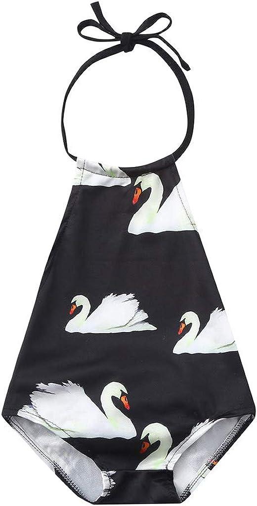 Baby Girls Backless Ruffles Swan Print Swimwear Summer Romper Jumpsuit Juesi Swimsuit for Girls