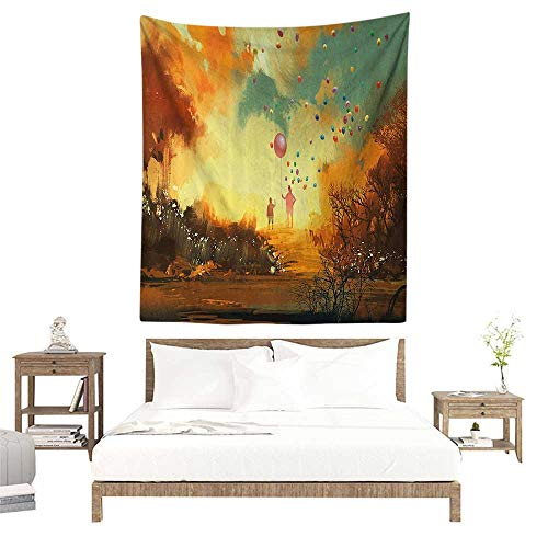 (Wall Tapestries Hippie,Fantasy,Silhouette of Little Boy and Wizard with Balloons Forest Print,Marigold Yellow Chocolate Teal W39 x L39 inch Tapestry Wallpaper Home Decor)