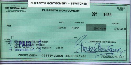 "ELIZABETH MONTGOMERY – SIGNED PERSONAL CHECK ""BEWITCHED"""