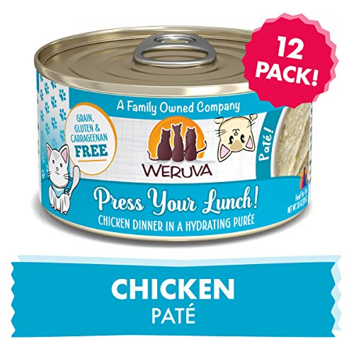 Weruva Classic Cat Paté, Press Your Lunch! with Chicken, 3oz Can (Pack of 12) (Press Puree)
