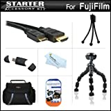 Starter Accessories Kit For The Fuji Fujifilm X-S1, XS1, X100S Digital Camera Includes Deluxe Carrying Case + 7 Flexible Tripod + Mini HDMI Cable + USB 2.0 SD Card Reader + LCD Screen Protectors + Mini TableTop Tripod + MicroFiber Cleaning Cloth