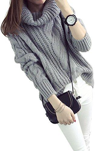Jersey de mujer invierno holgado con cuello alto y grande estilo casual gris