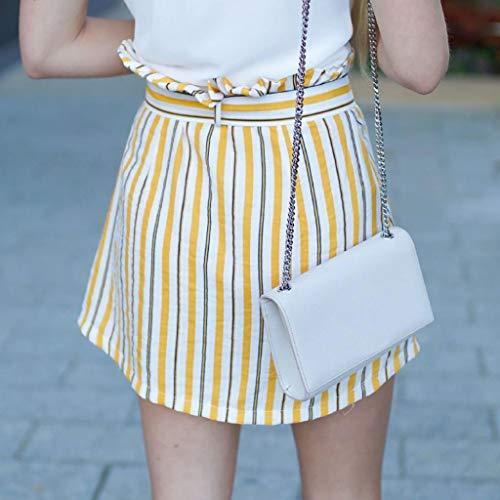 ESAILQ Femmes Short Jupe Mini Bouton Taille Jaune Bandage Jupe Haute Raye Wrap ppwUdxqr