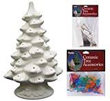 DIY Unfinished Ceramic Christmas Tree, 11.4-Inch with Accessories