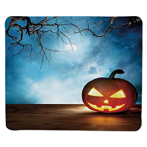 Mouse pad Halloween,Traditional Celebration Icon Pumpkin on Wooden Board Fantasy Midnight Sky Trees,Multicolor Stitched Edge