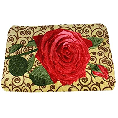 FakeFace Ultra Soft Anti-slip Floral Rose Home Decorator Floor Mat Rug Doormat Carpet Bath Mat
