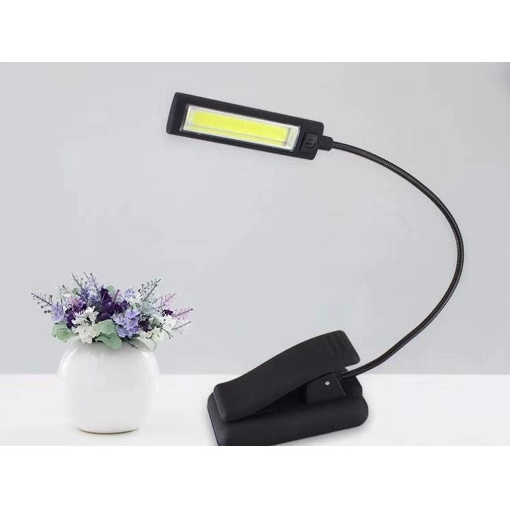 LENCOR Clip On Reading Light, Flexible LED Eye-Care Book Light, COB Light Source with 3 Brightness, AAA3 or 5V Power Supply, Perfect for Desk, Bed, Headboard, Bookworms&Kids (Black-Single Arm)