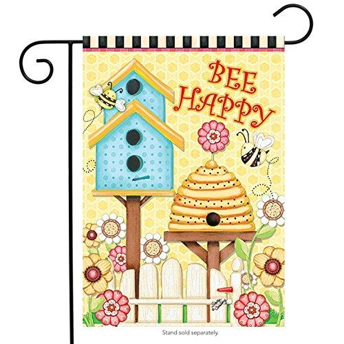 QQshiqI Bee Happy Spring Garden Flag Beehive Birdhouse Flora