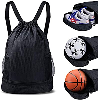 5429a8017366 Amazon.com  SKL Drawstring Bag Backpack with Ball Shoe Compartment Sport  Gym Sackpack String Bag for Men Women Soccer Basketball  Sports   Outdoors