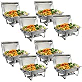 SUPER DEAL 8 Qt Stainless Steel 4 Pack Full Size Chafer Dish w/Water Pan, Food Pan, Fuel Holder and Lid For Buffet/Weddings/Parties/Banquets/Catering events (8)
