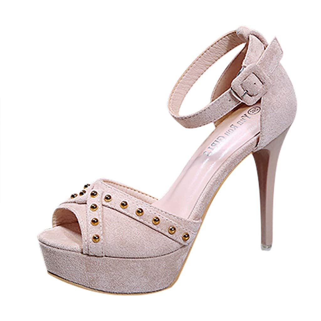 Nadition Thin High Heel Shoes ❤️️ Women's Summer Buckle Rivets Sandals Fish Mouth Stiletto Heel Platform Pumps Shoes Beige