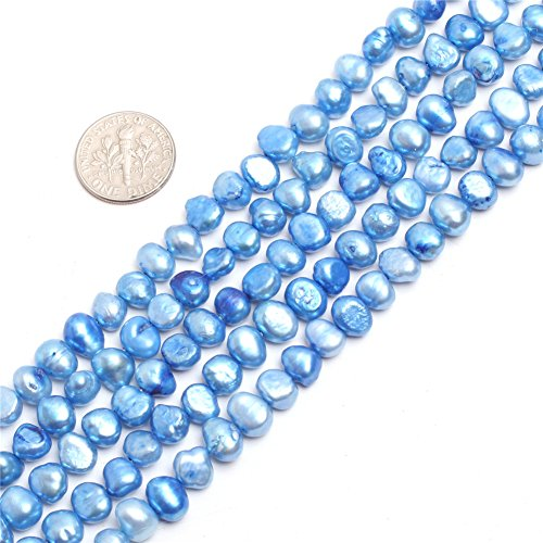 GEM-inside Dyed Blue Pearl Gemstone Loose Beads 6-7mm Round Stone Power For Jewelry Making 15'' ()