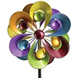 Bits and Pieces - Prismatic Posy Wind Spinner - Decorative Kinetic Wind Mill - Unique Outdoor Lawn and Garden Décor, Lawn Ornament