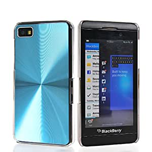 SHOPPINGBOX Plastic Side And Aluminum Plate Back Etui Cover Case With 1x Screen Protector For Blackberry Z10 BB 10 Lightblue