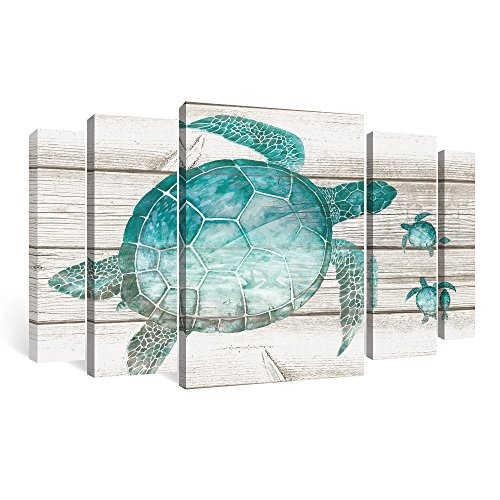SUMGAR Framed Wall Art Living Room Beach Pictures Teal Bathroom Decor Ocean Large Paintings Sea Turtle 5 Piece