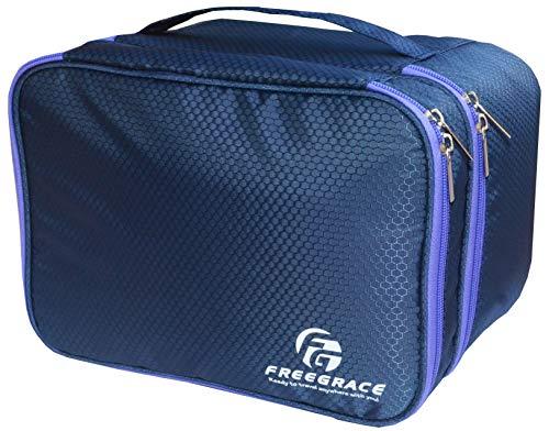 Travel Organizer Underwear Bag - Large Double Layer Packing Storage Bag - Fits Large Bra, Socks, Underpants, Cosmetic, Toiletry kit (Dark Blue)