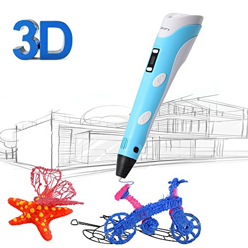 3D Printing Pen for Kids,Juboury JBY-II 3D Drawing Pen with LCD Temperature Display for Model Printing,Art Design,DIY and Crafts Drawing-Compatible with 1.75mm ABS and PLA Filament (Blue) by Juboury