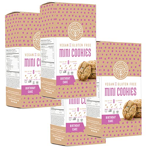 Partake Foods Crunchy Mini Cookies, Birthday Cake, Vegan, Nut Free, Gluten Free Snack, Free of Top 8 Allergens, Lower in Sugar, High in Nutrition, Safe for the School Yard (4 Boxes)