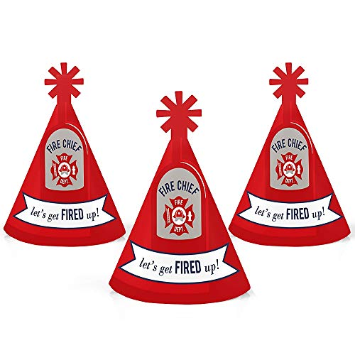 Fired Up Fire Truck - Mini Cone Firefighter Firetruck Baby Shower or Birthday Party Hats - Small Little Party Hats - Set of 10
