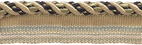 Navy Blue 4//16 Imperial II Lip Cord Style# 0416I2 Color: NAVY GOLD Sold by The Yard 1152 Medium Gold