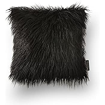 "Phantoscope Decorative Black Fur Throw Pillow 18"" x 18"" with Insert Included"