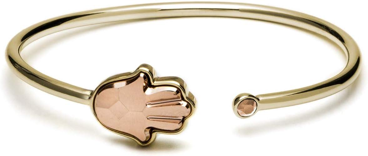DiamondJewelryNY Double Loop Bangle Bracelet with a Madonna and Child Charm.