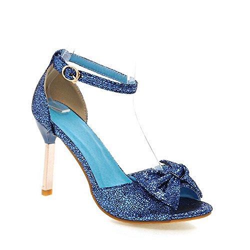 Odomolor Mujeres Peep Tacón Alto Sólido Sandalia de Tacón Azul