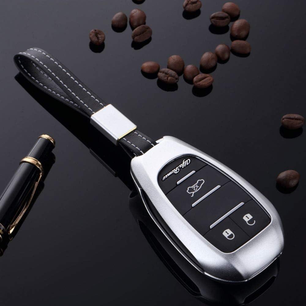 WQSNUB Smart Remote Control Fob Cover Keychain Protector Bag Holder Aluminum Alloy Car Key Case,for Alfa Romeo Giulia Stelvio 2017 2018